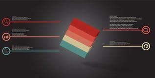 o molde infographic da ilustração 3D com cubo gravado arranjou obliquamente dividido a cinco porções ilustração do vetor