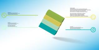 o molde infographic da ilustração 3D com cubo gravado arranjou obliquamente dividido a quatro porções ilustração royalty free