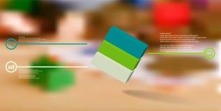 o molde infographic da ilustração 3D com cubo gravado arranjou obliquamente dividido a três porções ilustração do vetor