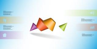 o molde infographic da ilustração 3D com dois cravou o cone dividido a quatro porções e arranjado obliquamente ilustração do vetor