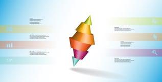 o molde infographic da ilustração 3D com dois cravou o cone dividido a seis porções e arranjado obliquamente ilustração stock