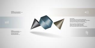 o molde infographic da ilustração 3D com dois cravou o cone dividido a três porções e arranjado obliquamente ilustração royalty free