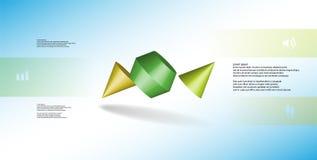 o molde infographic da ilustração 3D com dois cravou o cone dividido a três porções e arranjado obliquamente ilustração do vetor