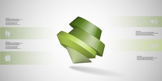 o molde infographic da ilustração 3D com pentagon redondo arranjou obliquamente ilustração do vetor
