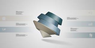 o molde infographic da ilustração 3D com pentagon redondo arranjou obliquamente ilustração stock