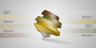 o molde infographic da ilustração 3D com pentagon redondo arranjou obliquamente ilustração royalty free