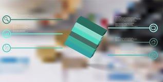 o molde infographic da ilustra??o 3D com cubo gravado arranjou obliquamente dividido a seis por??es ilustração royalty free