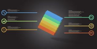o molde infographic da ilustra??o 3D com cubo gravado arranjou obliquamente dividido a seis por??es ilustração do vetor