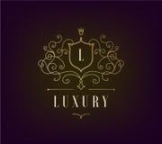 O molde luxuoso do logotipo do vetor floresce com linhas elegantes caligráficas do ornamento Fotografia de Stock Royalty Free