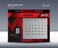 O molde 2019, semana de AUGUST Desk Calendar começa domingo, projeto dos artigos de papelaria, vetor do projeto do inseto Fotos de Stock