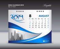 O molde 2019, semana de AUGUST Desk Calendar começa domingo, projeto dos artigos de papelaria, vetor do projeto do inseto Foto de Stock