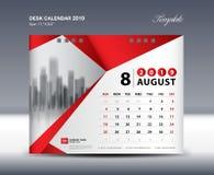 O molde 2019, semana de AUGUST Desk Calendar começa domingo, projeto dos artigos de papelaria, vetor do projeto do inseto, ideia  Fotografia de Stock