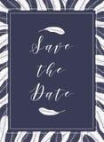 O molde tropical com manga sae na cor azul profunda Quadro e rotulação do gráfico de vetor para convites, cartões, cartaz Foto de Stock Royalty Free
