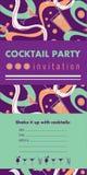 O molde vertical com cocktail, citrino do cartão do convite do cocktail, acena Imagens de Stock Royalty Free