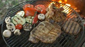 O molho de assado do assado do BBQ em vegetais do bife do lombo grelhou galinha da carne do bife da parte dos cogumelos da piment video estoque