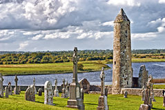 O monastério de Clonmacnoise, Ireland Fotos de Stock Royalty Free