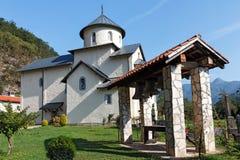 O monastério de Moraca é um dos monumentos medievais os mais conhecidos de Imagens de Stock Royalty Free