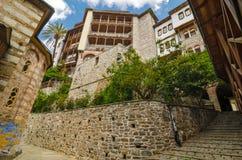O monastério de Osiou Gregoriou, Monte Athos Imagens de Stock Royalty Free