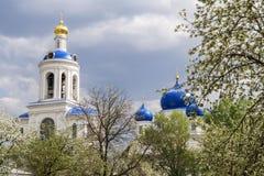 O monastério em Bogolyubovo na mola nas árvores de florescência, a cidade de Vladimir, Rússia imagem de stock royalty free