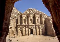 O monastério em PETRA fotografia de stock