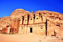 O monastério & o x28; EL Dayr& x29; em Petra Ancient City em um Sun dourado, Jordânia Foto de Stock Royalty Free