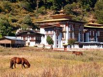 O monastério de Konchogsum Lhakhang em Jakar Foto de Stock