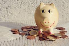 O moneybox do porco com Euro inventa no fundo de madeira branco Fotos de Stock Royalty Free