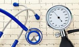 O monitor, o estetoscópio e EKG da pressão sanguínea curvam-se Fotografia de Stock Royalty Free