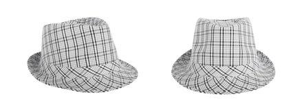 O Monochrome verificou o chapéu para ver se há o verão em um fundo isolado Imagens de Stock Royalty Free