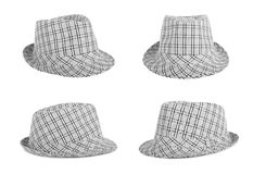 O Monochrome verificou o chapéu para ver se há o verão em um fundo isolado Imagem de Stock Royalty Free
