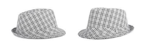 O Monochrome verificou o chapéu para ver se há o verão no fundo Foto de Stock