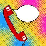 O monofone velho vermelho do telefone do fundo do pop art e o discurso vazio borbulham ilustração stock
