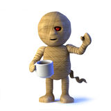 o monstro egípcio da mamã 3d bebe um copo do chá ilustração stock