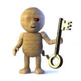 o monstro egípcio da mamã 3d tem uma chave do ouro ilustração stock