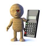 o monstro egípcio da mamã 3d usa uma calculadora ilustração stock
