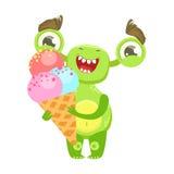 O monstro engraçado de sorriso que guarda o gelado no cone, esverdeia a etiqueta do personagem de banda desenhada de Emoji do est ilustração stock