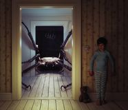 O monstro no rhe caçoa a sala Fotos de Stock