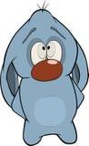 O monstro. Sobre um coelho azul. Desenhos animados Foto de Stock Royalty Free