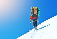 O montanhista alcança a cimeira do pico de montanha Escalada e mounta Imagem de Stock