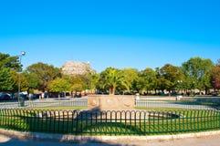 O monte de Castel um Terra é visível na fortaleza velha Console de Corfu, Greece Foto de Stock Royalty Free
