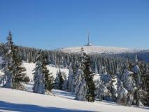 O monte Praded, montanhas de Jeseniky, região de Moravia, República Checa Fotografia de Stock