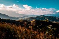 O monte que alinhou na tarde fotos de stock