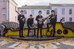 O monumento de Beatles no centro da cidade de Vinnitsya, Ucrânia imagens de stock