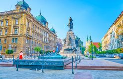 O monumento de Grunwald com 'aw II Jagiello do rei WladysÅ, Krakow, Foto de Stock Royalty Free