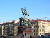 O monumento a Nicholas eu fui erigido no quadrado do ` s do St Isaac em St Petersburg, fui aberto em 1859 Foto de Stock