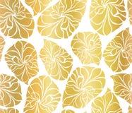 O mosaico da folha de ouro sae do fundo sem emenda do vetor Formas de folha abstratas douradas no fundo branco Teste padrão elega ilustração do vetor