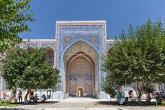 O mosaico em Ulugh implora Madrasah em Samarkand, Usbequistão Foto de Stock Royalty Free