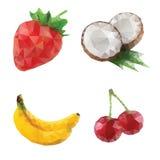 O mosaico frutifica coco, banana, morango, cereja Imagens de Stock Royalty Free