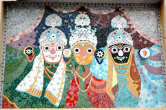 O mosaico telha a arte do templo de Jagnnath, Ahmedabad Fotografia de Stock