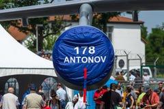 O motor tubofan de aviões Antonov An-178 do transporte das forças armadas Imagens de Stock